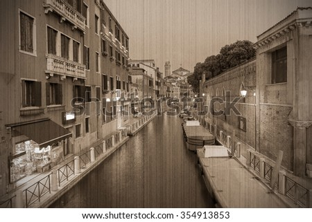 Canal in Venice at night. Parking at Hotel for water transport. Old style, sepia - stock photo
