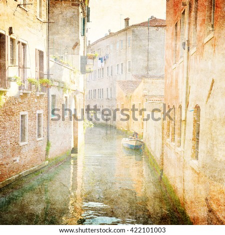 canal in Venice, Italy - vintage style - stock photo