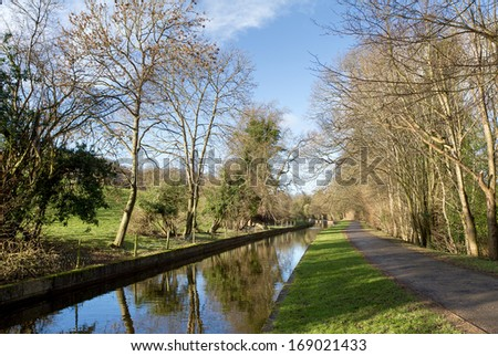 Canal near pentre, wrexham in North Wales - stock photo