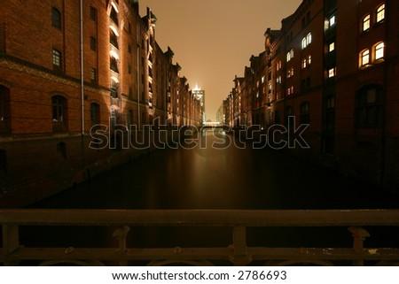 canal of Hamburg Speicherstadt - stock photo