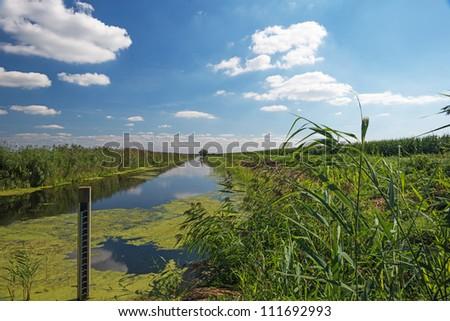 Canal through a Dutch landscape in summer - stock photo