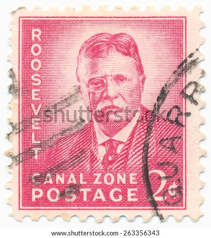 CANAL ZONE - CIRCA 1939: A stamp printed in the Canal Zone, shows portrait of the Theodore Roosevelt, circa 1939 - stock photo