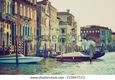 Canalgrande canal in Venice (Venezia), Italy vintage looking - stock photo