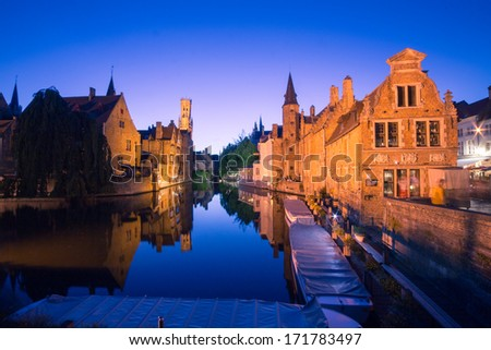 Canals in Bruges by night - stock photo