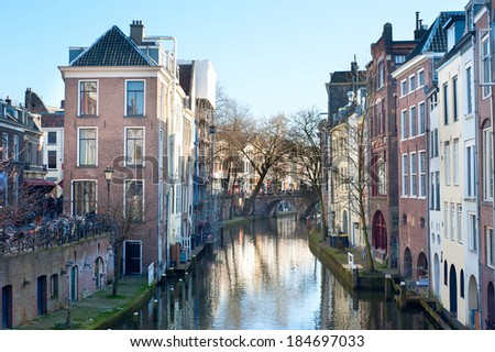 Canals in old town of Utrecht in the day. Netherlands - stock photo