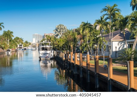 Canals of Fort Lauderdale, Florida. - stock photo