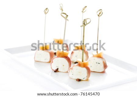 canapés, snacks, meat, cheese, parsley, restaurant, gourmet bacon - stock photo
