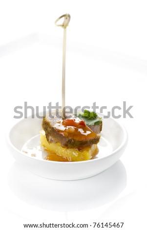 canapés, snacks, meat, pineapple, parsley, restaurant, gourmet - stock photo