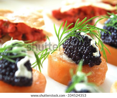 Caviar canapes stock photos images pictures shutterstock for Canape with caviar