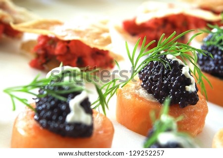 canapes on platter - stock photo