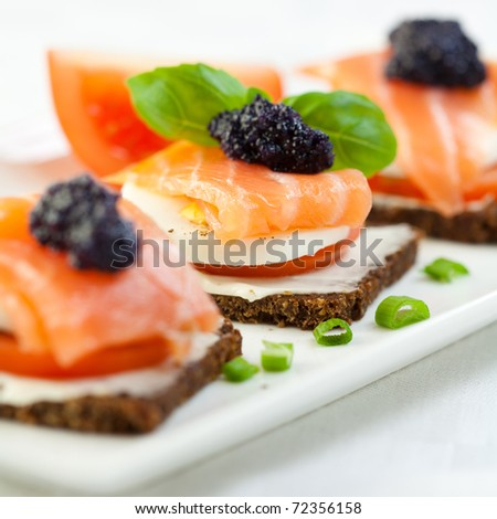 Canape stock photos images pictures shutterstock for Smoked salmon canape