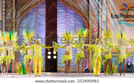 CANARY ISLAND, SPAIN - FEBRUARY 13, 2015: Araguime who got 1st premie during this year carnival performing onstage during city of Las Palmas carnival One Thousand and One Nights Queens Gala show. - stock photo