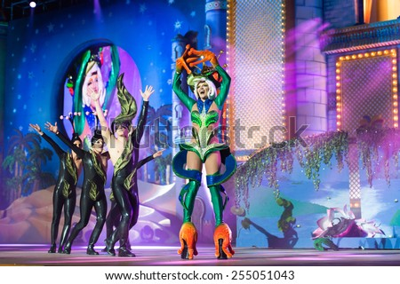 CANARY ISLAND, SPAIN - FEBRUARY 20, 2015: Drag Noa (r) with frog costume and unidentified assists performing onstage during city of Las Palmas carnival Drag Queen Gala. - stock photo