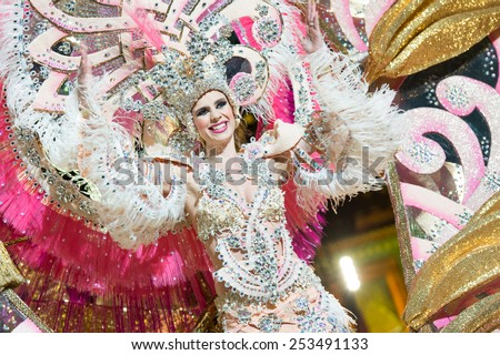 CANARY ISLAND, SPAIN - FEBRUARY 13, 2015: Lorena Ortega Caballero onstage with costume from designer Manuel Encinoso during city of Las Palmas carnival One Thousand and One Nights Queens Gala show. - stock photo