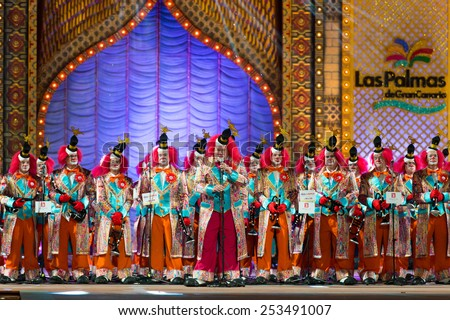 CANARY ISLAND, SPAIN - FEBRUARY 13, 2015: Los Nietos de Kika performing onstage during city of Las Palmas carnival One Thousand and One Nights Queens Gala show. - stock photo