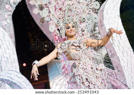 CANARY ISLAND, SPAIN - FEBRUARY 13, 2015: Suna Emboirik onstage with costume from designer Grisela Gomez during city of Las Palmas carnival One Thousand and One Nights Queens Gala show. - stock photo