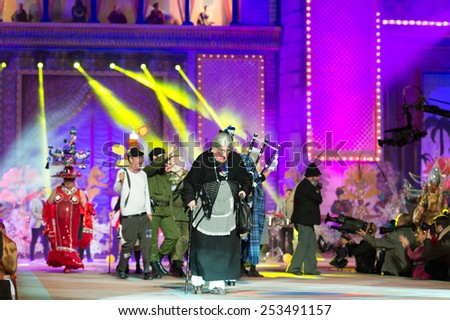 CANARY ISLAND, SPAIN - FEBRUARY 13, 2015: Unidentified people with costumes performing onstage during city of Las Palmas carnival One Thousand and One Nights Queens Gala show. - stock photo