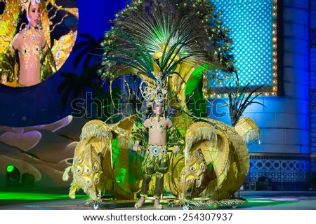 CANARY ISLAND, SPAIN - FEBRUARY 15, 2015: Yasnai Cabrera Nordelo onstage with costume called the sultan's daughter during city of Las Palmas carnival One Thousand and One Nights Junior Queen Gala - stock photo