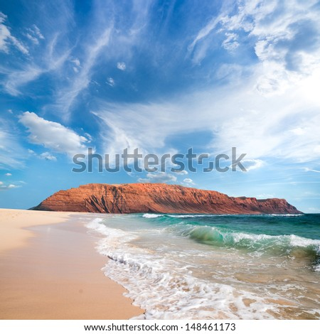 Canary islands. Northern side of Lanzarote from island of Graciosa - stock photo
