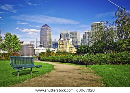 Canary Wharf, Famous skyscrapers of London's financial district. This view includes: Credit Suisse, Morgan Stanley, HSBC Group Head Office, Canary Wharf Tower, Citigroup Centre - stock photo