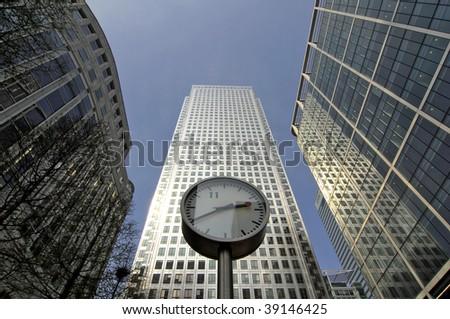 Canary Wharf office buildings, London, England UK - stock photo