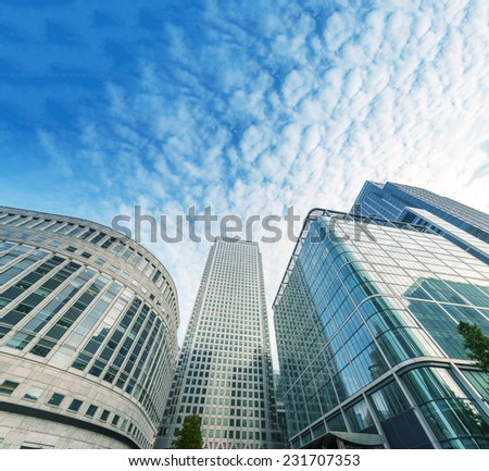 Canary Wharf skyline, business district of London. - stock photo