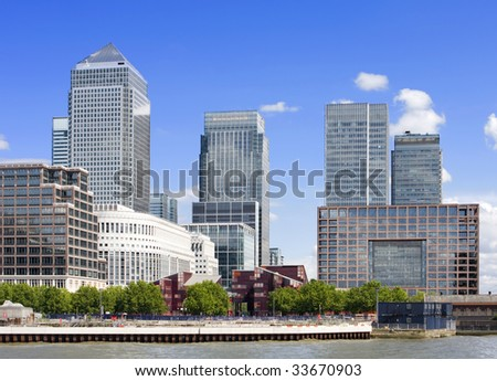Canary Wharf skyline, London - stock photo