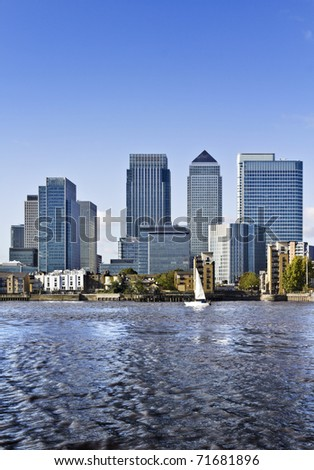 Canary Wharf view from Greenwich. Canary Wharf is a large business and shopping development in East London. London's traditional financial centre. - stock photo