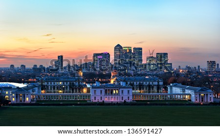 Canary Wharf View from Greenwich Hill - stock photo