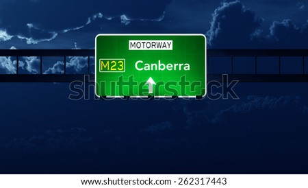 Canberra Australia Highway Road Sign at Night - stock photo