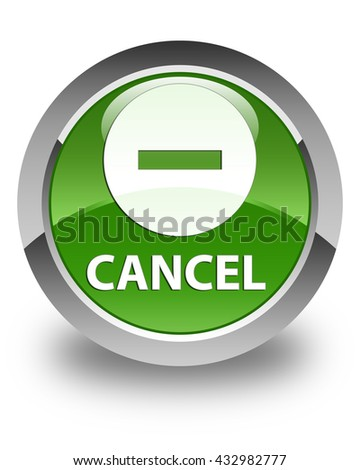 Cancel glossy soft green round button - stock photo