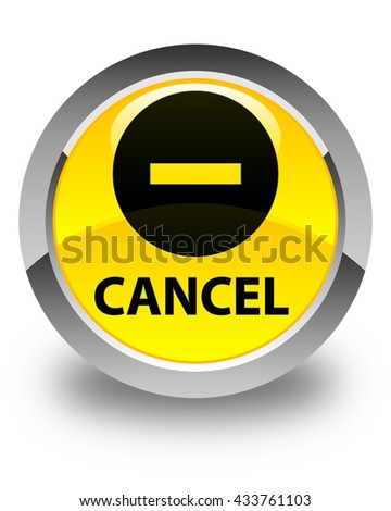 Cancel glossy yellow round button - stock photo