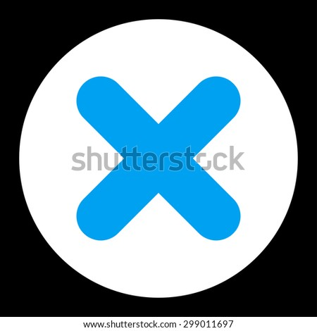 Cancel icon from Primitive Round Buttons OverColor Set. This round flat button is drawn with blue and white colors on a black background. - stock photo
