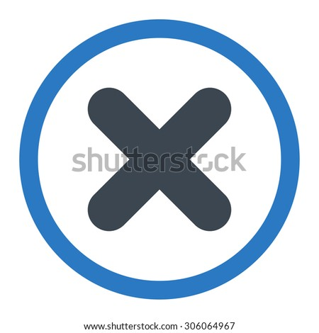 Cancel raster icon. This rounded flat symbol is drawn with smooth blue colors on a white background. - stock photo