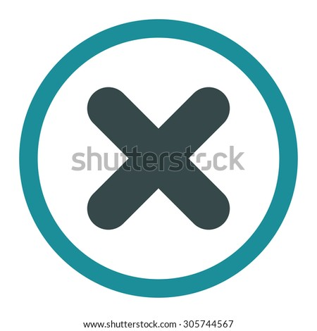 Cancel raster icon. This rounded flat symbol is drawn with soft blue colors on a white background. - stock photo