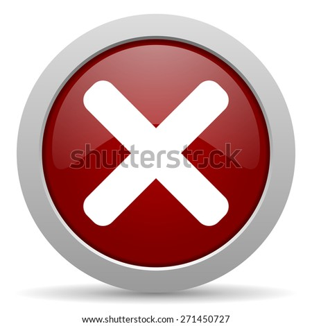 cancel red glossy web icon  - stock photo