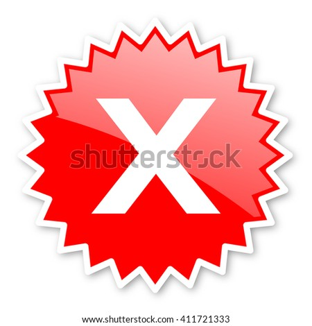 cancel red tag, sticker, label, star, stamp, banner, advertising, badge, emblem, web icon - stock photo