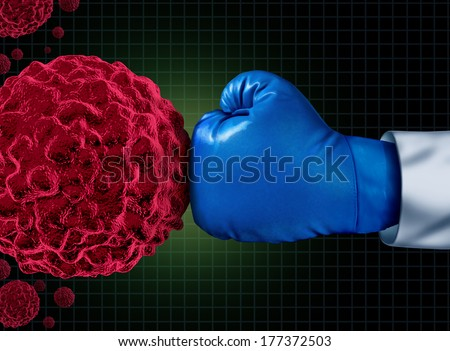 Cancer fight medical concept with an arm of a doctor wearing a blue boxing glove fighting a group of malignant cells as a health care metaphor to find a cure for tumors and therapy to remove illness. - stock photo