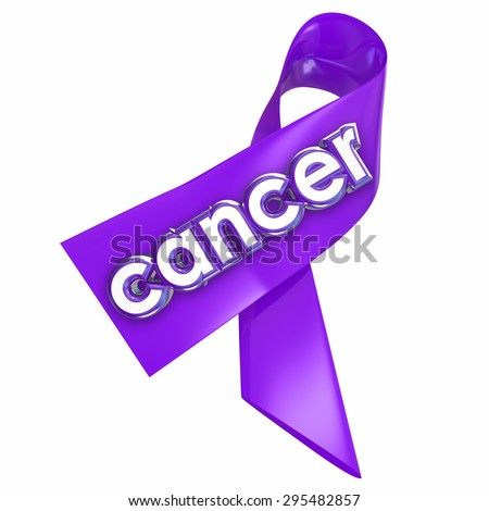 Cancer word on a ribbon for awareness, hope, medical research fundraising and finding a cure to the deadly disease - stock photo