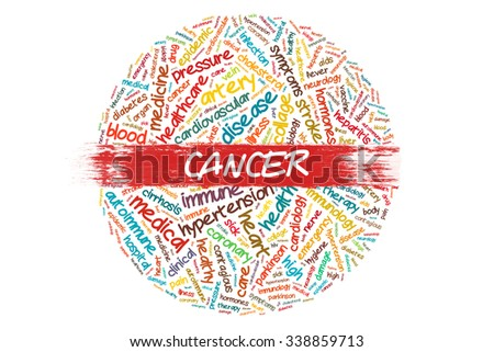 CANCER word writing on wordcloud concept  - stock photo