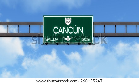 Cancun Highway Road Sign - stock photo