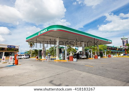 Cancun, Mexico - 8 February 2016: Pemex gasoline station at downtown - stock photo
