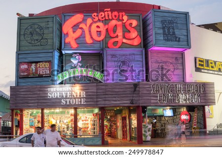 CANCUN, MEXICO - JANUARY 22, 2015: Senor Frog's is a franchised restaurant and bar in Cancun and a popular party scene throughout Mexico, the Caribbean, South America, and the United States - stock photo