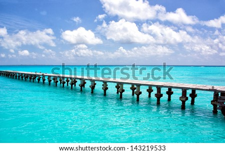 Cancun pier - stock photo