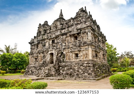 Candi Sari  (also known as Candi Bendah) buddhist temple in Prambanan valley on  Java. Indonesia. Built around 778 a.d. it supposedly is the oldest temple among those built in the Prambanan valley. - stock photo