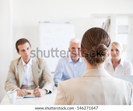 Candidate on a job interview. - stock photo