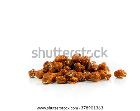 candied nut or sugar coated nut Thai snack isolated on white background - stock photo