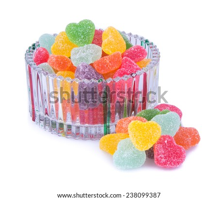 candies. jelly candies in glass bowl on a background. - stock photo