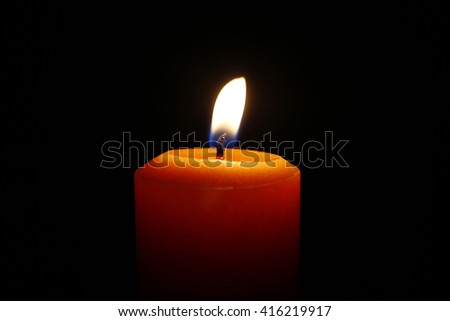 Candle closeup and flame, memorial  - stock photo