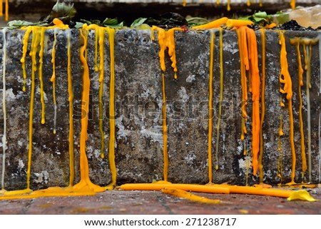 candle drippings - stock photo